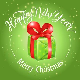 Vrolijk kerstfeest, gelukkig nieuwjaar belettering met geschenkdoos