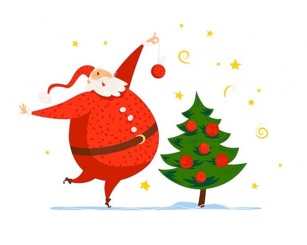 Vrolijk kerstfeest, gelukkig nieuwjaar felicitatie. . cartoon stijl. goed voor kerstkaart, kaart, advertentie, flayer,.
