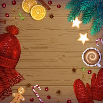 Vrolijk kerstfeest gelukkig nieuwjaar groet achtergrond winter elementen gebreide muts wanten kopje koffie