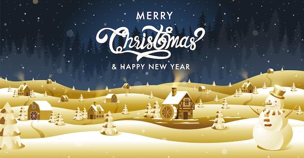 Vrolijk kerstfeest, gelukkig nieuwjaar, kalligrafie, gouden fantasie.