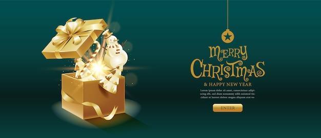 Vrolijk kerstfeest, gelukkig nieuwjaar, kalligrafie, gouden, geschenkdoos fantasie.