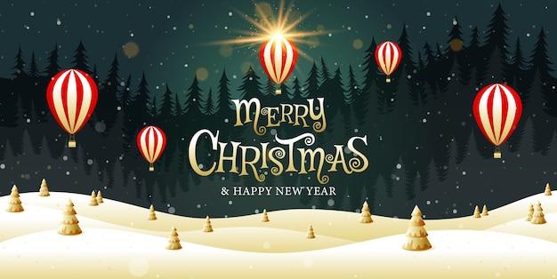 Vrolijk kerstfeest, gelukkig nieuwjaar, kalligrafie, gouden, landschapsfantasie.
