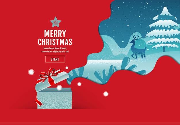 Vrolijk kerstfeest, gelukkig nieuwjaar, kalligrafie, landschap