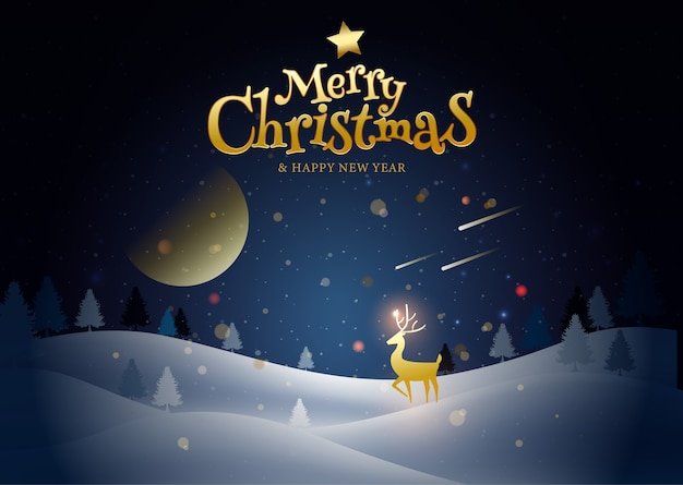 Vrolijk kerstfeest, gelukkig nieuwjaar, kalligrafie, landschapswinter.
