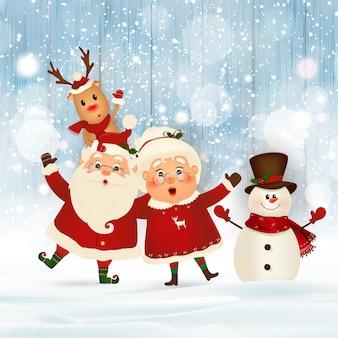 Vrolijk kerstfeest gelukkig nieuwjaar kerstman met mevrouw claus rendier sneeuwpop