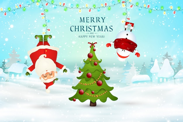 Vrolijk kerstfeest. gelukkig nieuwjaar. kerstman, sneeuwpop opknoping ondersteboven in kerst sneeuw scène met vallende sneeuw, slingers, kerstboom. happy santa claus stripfiguur in winterlandschap.