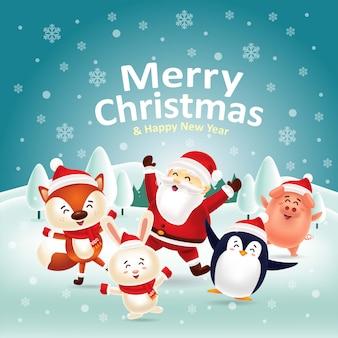 Vrolijk kerstfeest gelukkig nieuwjaar! laten we samen dansen met de kerstman
