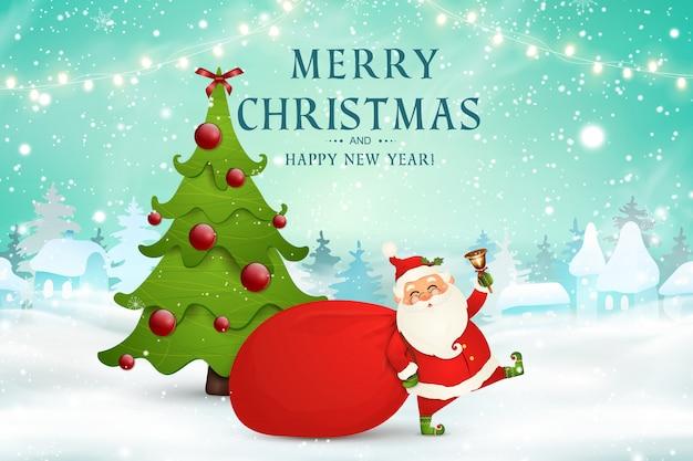 Vrolijk kerstfeest. gelukkig nieuwjaar. leuke kerstman met rode zak met cadeautjes, geschenkdozen, kerstboom, jingle bell in kerst sneeuwscène. happy santa claus stripfiguur in winterlandschap