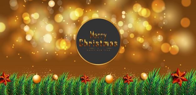 Vrolijk kerstfeest gelukkig nieuwjaar met gloeiende stippen, licht gouden sterren en bubbels vector