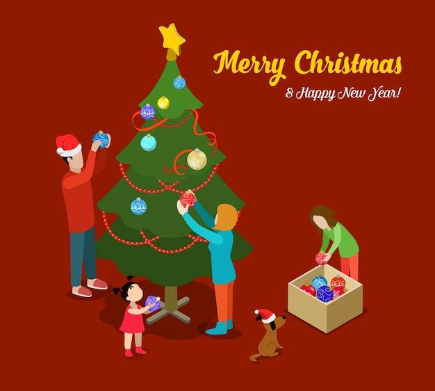 Vrolijk kerstfeest gelukkig nieuwjaar platte isometrie isometrisch concept web infographics folder flyer kaart briefkaartsjabloon sparrenboom familie decoratie creatieve wintervakantie collectie