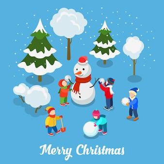 Vrolijk kerstfeest gelukkig nieuwjaar platte isometrie. kinderen spelen sneeuwbal buiten met sneeuwpop creatieve wintervakantie
