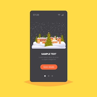 Vrolijk kerstfeest gelukkig nieuwjaar vakantie feest wenskaart schattige huizen besneeuwde stad op winter smartphone scherm online mobiele app vectorillustratie