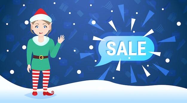 Vrolijk kerstfeest gelukkig nieuwjaar vakantie grote verkoop zwaaien elf meisje praatjebel speciale aanbieding promotie plat