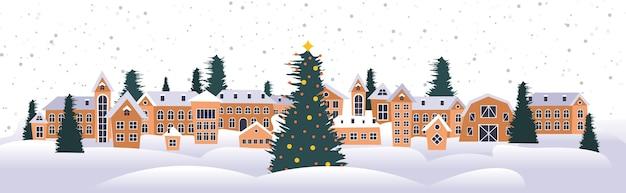 Vrolijk kerstfeest gelukkig nieuwjaar vakantie viering wenskaart schattige huizen besneeuwde stad op winter horizontale vectorillustratie