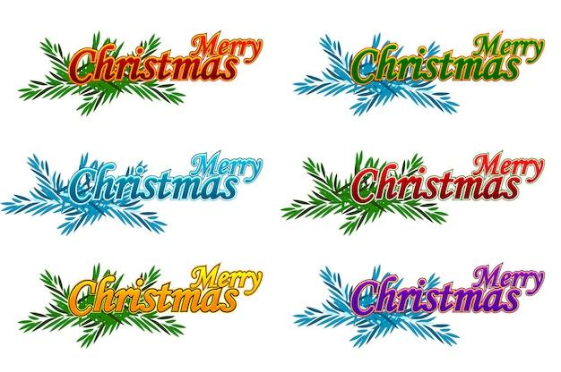 Vrolijk kerstfeest. gelukkig nieuwjaar. vectorembleem, emblemen, tekstontwerp. bruikbaar voor spandoeken, wenskaarten en geschenken. objecten op een aparte laag.