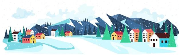 Vrolijk kerstfeest gelukkig nieuwjaar winter vakantie viering concept groet landschap achtergrond horizontaal