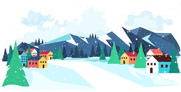 Vrolijk kerstfeest gelukkig nieuwjaar winter vakantie viering concept groet landschap achtergrond horizontale illustratie