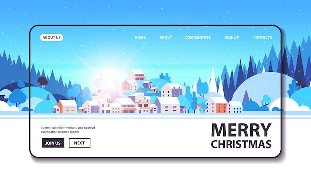 Vrolijk kerstfeest gelukkig nieuwjaar winter vakantie viering concept wenskaart landschap achtergrond horizontale kopie ruimte vectorillustratie