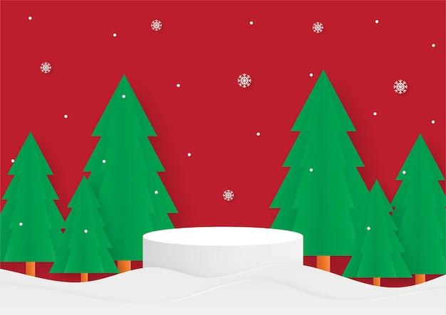 Vrolijk kerstfeest geometrie vorm podium met kerstboom papier gesneden kaart rode achtergrond productstandaard presentatie met minimale stijl