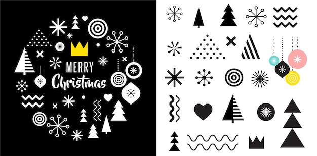 Vrolijk kerstfeest, geometrische abstracte wenskaart en memphis-elementen