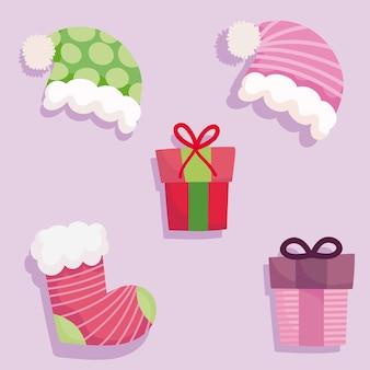 Vrolijk kerstfeest, geschenkdozen hoed en sok iconen ontwerp illustratie