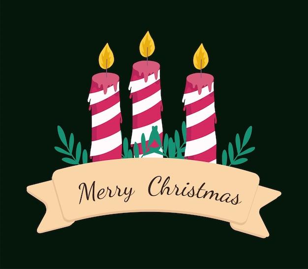 Vrolijk kerstfeest gestreepte kaarsen bladeren en lint decoratie illustratie