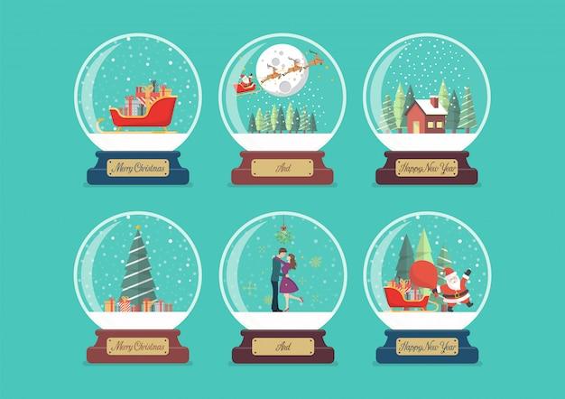 Vrolijk kerstfeest glazen bol collectie