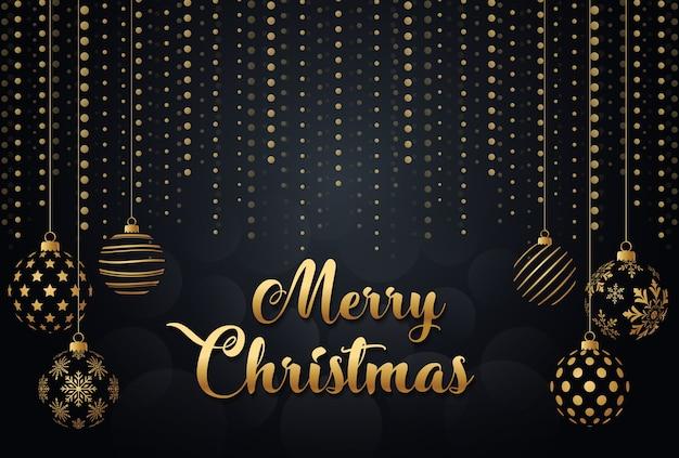 Vrolijk kerstfeest goud en zwart, kerstballen