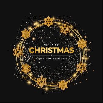 Vrolijk kerstfeest gouden frame achtergrond