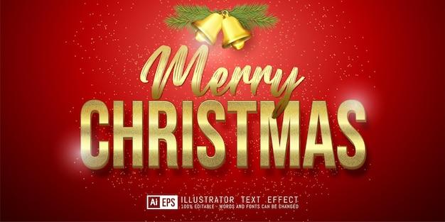 Vrolijk kerstfeest gouden teksteffect bewerkbare 3d-tekststijl