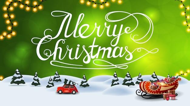 Vrolijk kerstfeest, groene ansichtkaart met onscherpe achtergrond