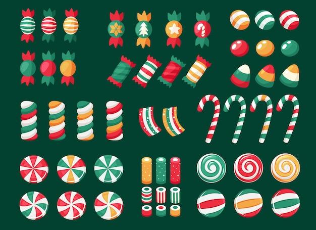 Vrolijk kerstfeest. grote reeks kerstmissnoepjes en suikergoed