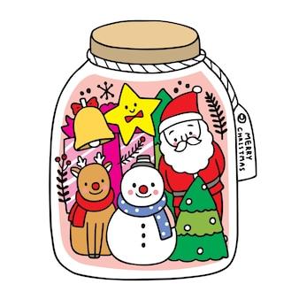 Vrolijk kerstfeest hand tekenen cartoon schattige decoratie kerst in glazen fles.