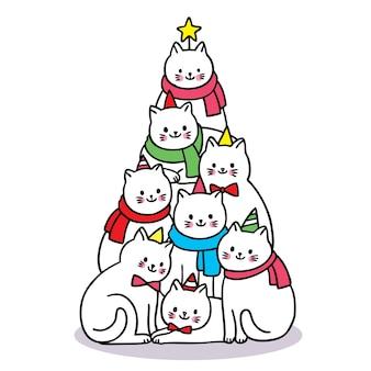 Vrolijk kerstfeest hand tekenen cartoon schattige katten zoals kerstboom.