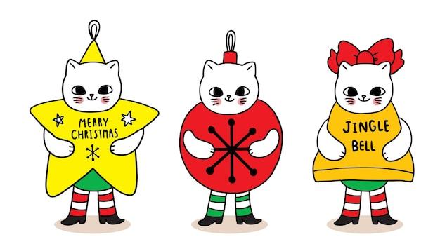 Vrolijk kerstfeest hand tekenen cartoon schattige mascotte katten ster en bal en bel.