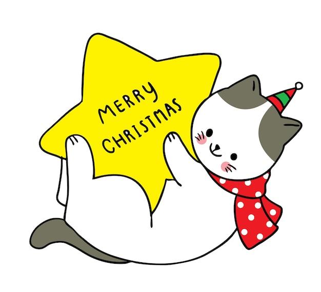Vrolijk kerstfeest hand tekenen cartoon schattige witte kat en ster.