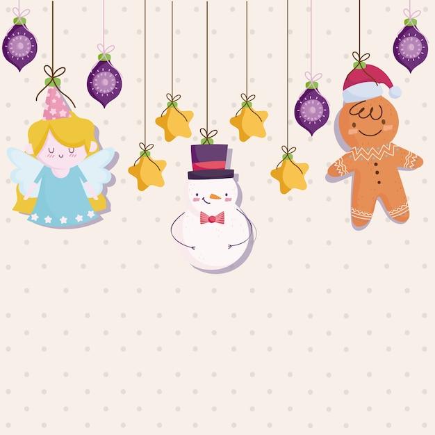 Vrolijk kerstfeest, hangende sneeuwpop engel peperkoek man sterren ballen decoratie