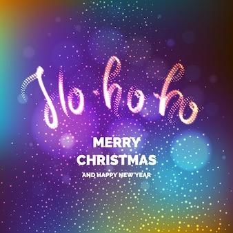 Vrolijk kerstfeest. heldere poster met een inscriptie en een besneeuwde achtergrond.