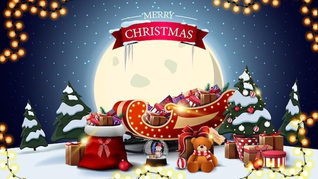Vrolijk kerstfeest, horizontale ansichtkaart met cartoon winterlandschap, grote gele maan
