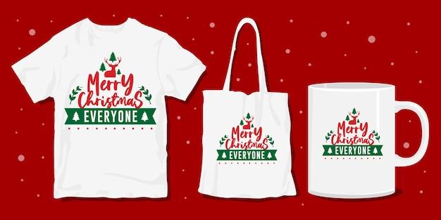 Vrolijk kerstfeest iedereen, kersttypografie belettering t-shirt merchandise design