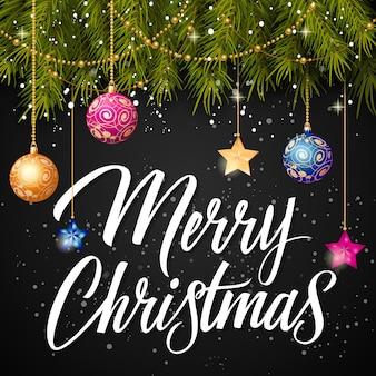 Vrolijk kerstfeest inscriptie en kerstballen