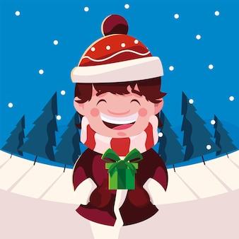 Vrolijk kerstfeest jongen jongen met cadeau, winterseizoen en decoratie thema