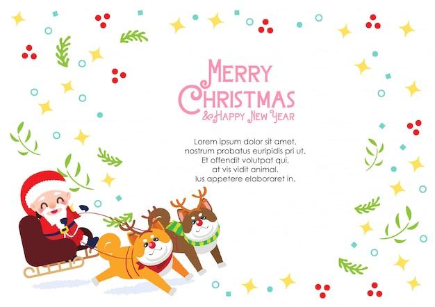 Vrolijk kerstfeest kaart decoratie vector