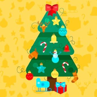 Vrolijk kerstfeest. kerstboom. gelukkig nieuwjaar illustratie. xmas design elements voor vakantie-uitnodiging, groet, kaart en kop, titel, sticker, embleem, print, magneet. vector