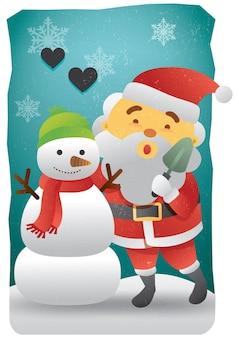 Vrolijk kerstfeest kerstman bouwt sneeuwpop in het kerstsneeuwlandschap winterlandschap