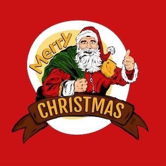 Vrolijk kerstfeest, kerstman met geschenken terwijl hij duimen opgeeft