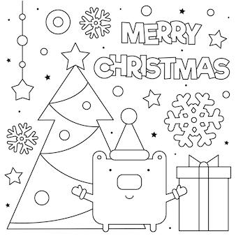 Vrolijk kerstfeest. kleurplaat. zwart en wit