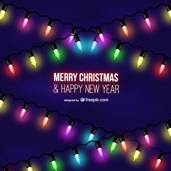 Vrolijk kerstfeest kleurrijke lampen