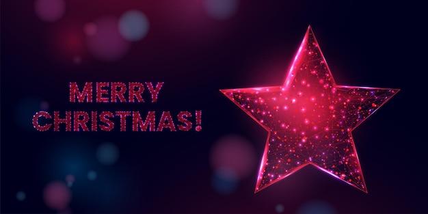 Vrolijk kerstfeest laag poly banner. veelhoekige draadframe mesh illustratie met rode ster. abstracte moderne 3d vectorillustratie op zwarte achtergrond.