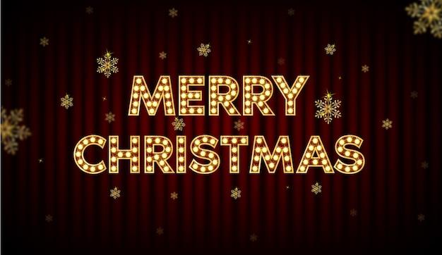 Vrolijk kerstfeest, lettertype met een gloeilamp erin, stralende mensen. en nieuwjaar prikbord.